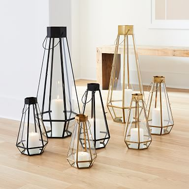 Faceted Glass & Metal Lanterns