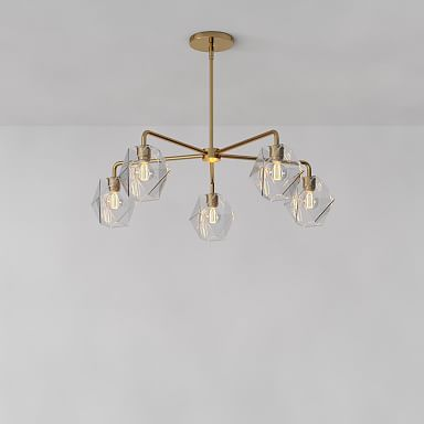 Sculptural Glass Faceted Chandelier - Clear
