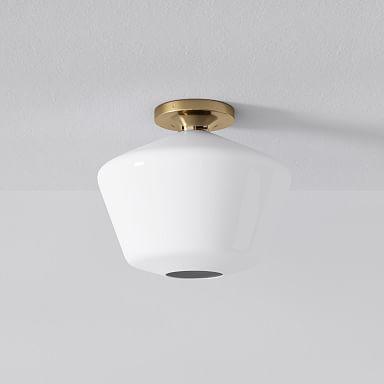 Sculptural Glass Geo Flushmount - Milk