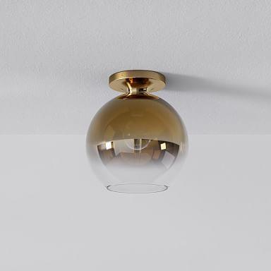 Sculptural Glass Globe Flushmount - Metallic Ombre