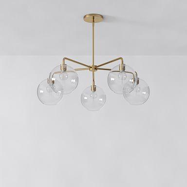 Sculptural Glass 5-Light Globe Chandelier - Clear