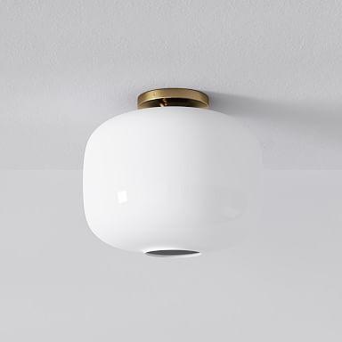 Sculptural Glass Pebble Flushmount - Milk