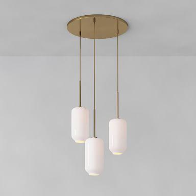 Sculptural Glass 3-Light Pebble Chandelier - Milk