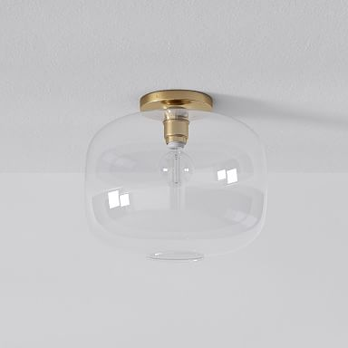Sculptural Glass Pebble Flushmount - Clear