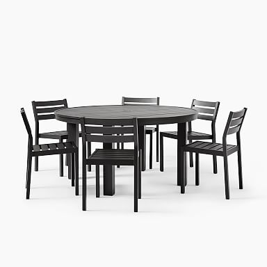 """Portside Aluminum Outdoor 58"""" Round Dining Table & Dining Chairs Set"""