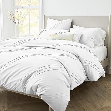 400-Thread-Count Organic Percale Pleated Duvet Cover & Shams