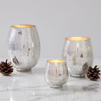 Silver Crackle Glass Candles - Balsam & Cedar
