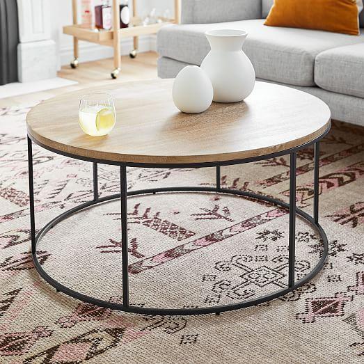 Streamline Round Coffee Table Whitewashed Mango Wood