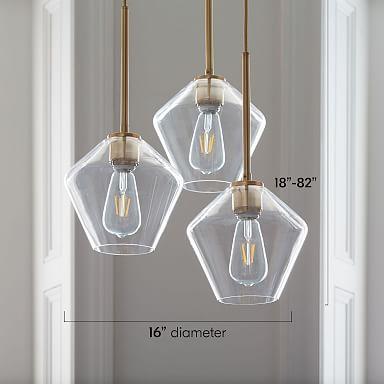 Sculptural Glass 3-Light Geo Chandelier - Clear