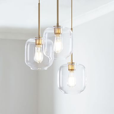 Sculptural Glass 3-Light Pebble Chandelier - Clear