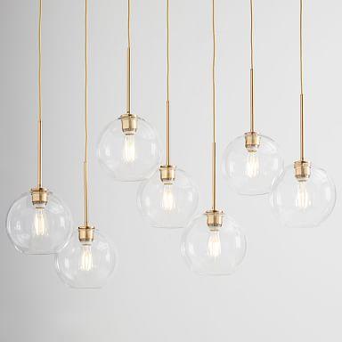 Sculptural Glass 7-Light Globe Chandelier - Clear