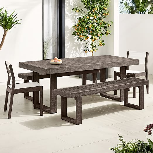 Portside Outdoor 76 5 Dining Table 2 Benches 2 Textilene Chairs Set