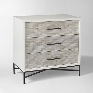 Wood Tiled 3-Drawer Dresser
