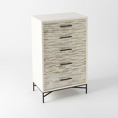 Wood Tiled 5-Drawer Dresser