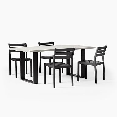 """Concrete Outdoor 72"""" Dining Table & Portside Aluminum Dining Chair Set"""