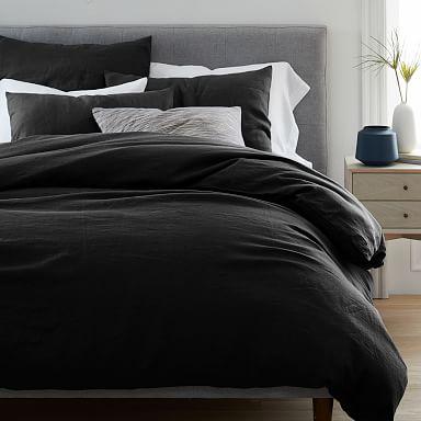 European Flax Linen Duvet Cover & Shams - Black