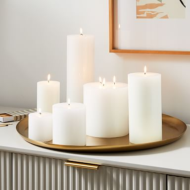 Unscented Pillar Candles - White