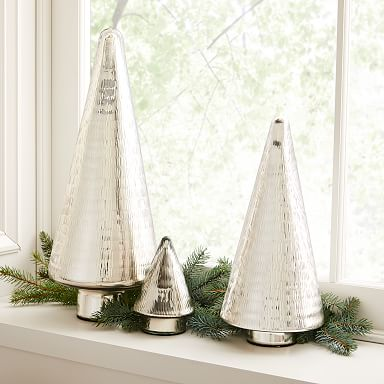 Hammered Glass Tree Objects - Silver