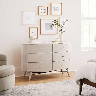 Penelope 6-Drawer Dresser - Feather Gray w/ Marble Top