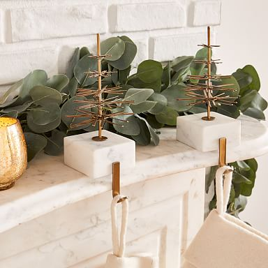 Modern Marble & Brass Stocking Holder