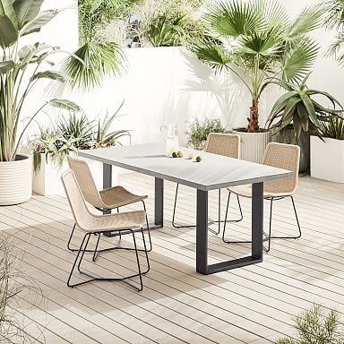 """Concrete Outdoor 72"""" Dining Table & Slope Dining Chair Set"""