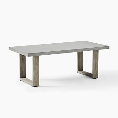 Concrete Outdoor Coffee Table - Weathered Wood