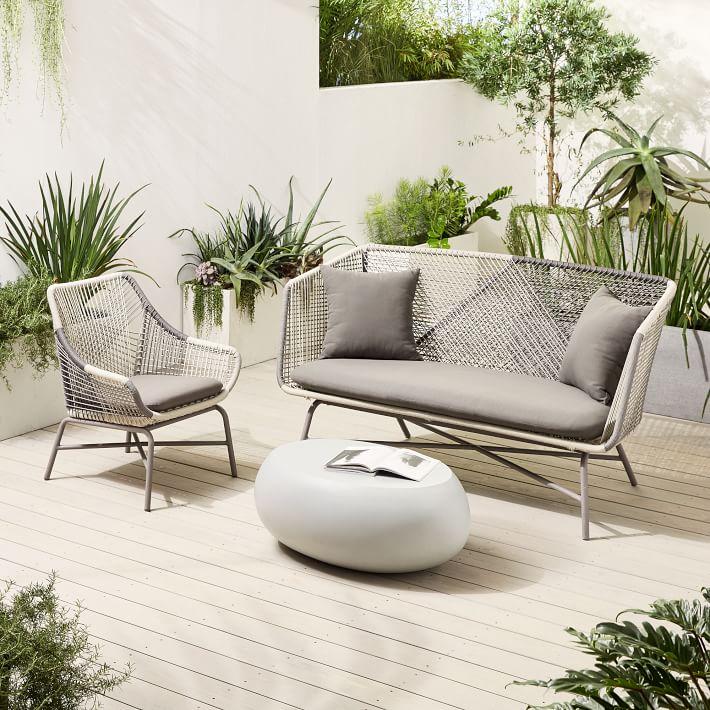 Huron Outdoor Sofa, Small Lounge Chair & Pebble Coffee Table Set