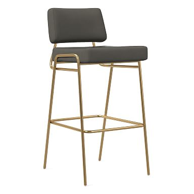 Wire Frame Vegan Leather Bar & Counter Stools
