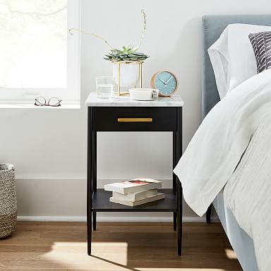 Metalwork Nightstand With Marble Top - Hot-Rolled Steel Finish