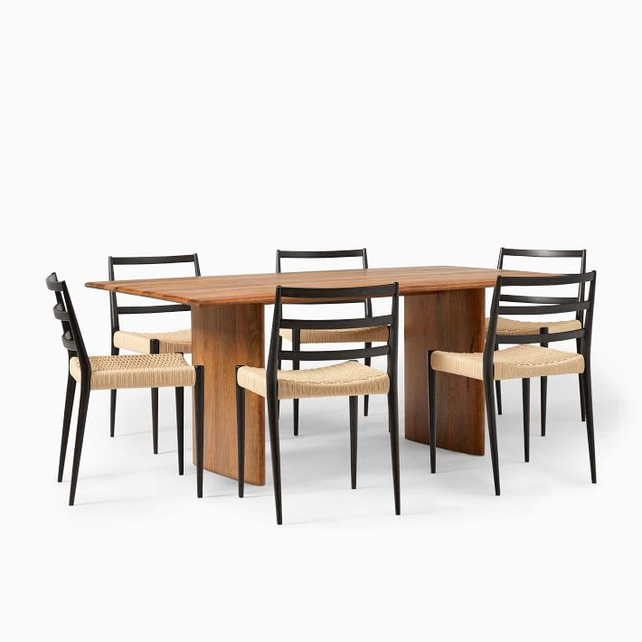 Anton Solid Wood Dining Table 72 6 Holland Chairs Set