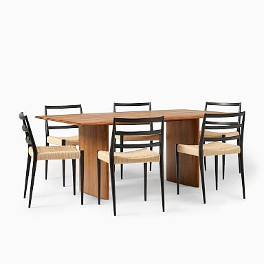 """Anton Solid Wood Dining Table (72"""") & 6 Holland Chairs Set"""