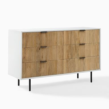 Quinn Wood 6-Drawer Dresser - White/Antique Bronze