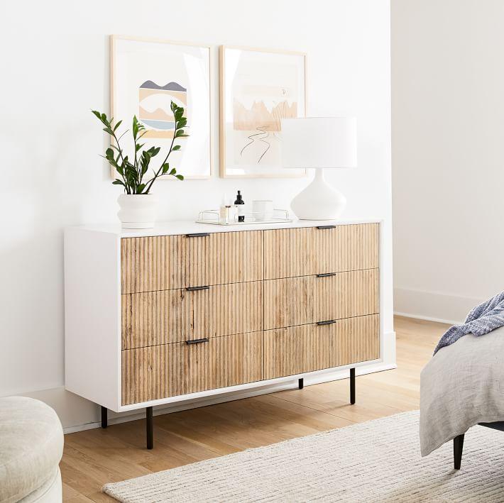 Quinn Wood 6 Drawer Dresser White