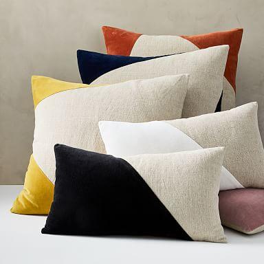 Cotton Linen & Velvet Corners Pillow Cover