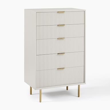 Quinn Lacquer 5-Drawer Dresser - Haze/Antique Brass
