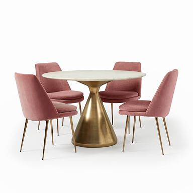 Silhouette Pedestal Round Dining Table & Finley Chair Set
