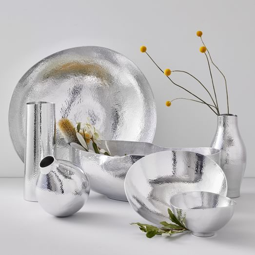 Shop Hammered Metal Vases & Bowls - Silver from West Elm on Openhaus