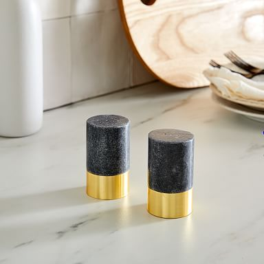 Black Marble Salt & Pepper Shakers