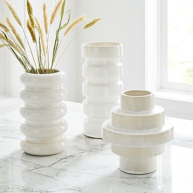 Stepped Form Ceramic Vases