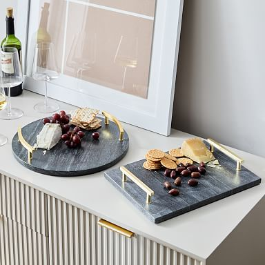 Brass & Black Marble Cheese Boards