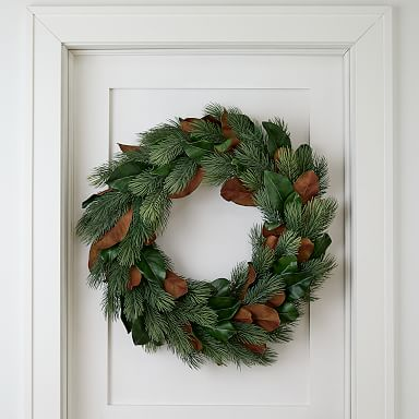Faux Pine & Magnolia Wreath