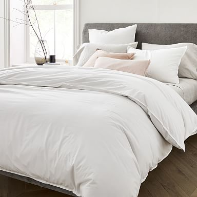 Organic Washed Cotton Percale Duvet Cover & Shams - Stone White