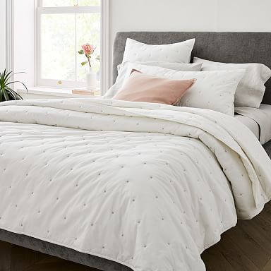 Washed Cotton Percale Quilt & Shams - Stone White
