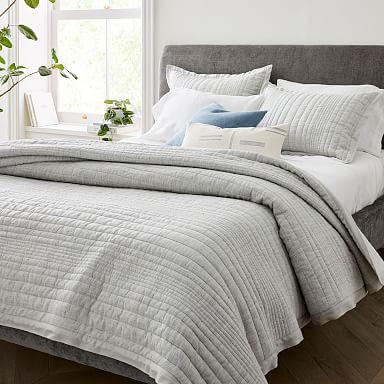 European Flax Linen Linework Quilt & Shams - Frost Gray