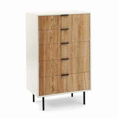 Quinn Wood 5-Drawer Dresser - White/Antique Bronze