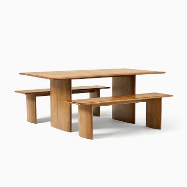 """Anton Solid Wood Dining Table (72"""") & 2 Bench Set"""