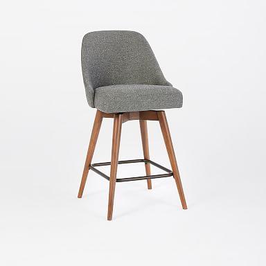 Mid-Century Upholstered Swivel Counter Stool