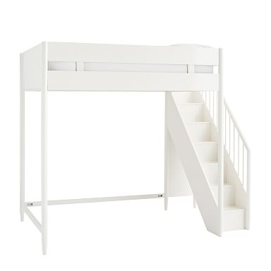 Mid-Century Stair Loft Bed - White