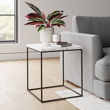Streamline Square Side Table - Marble