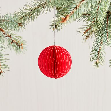 Round Paper Ball Ornament - Red
